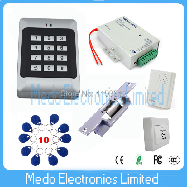 RFID Card Door Security  Access Control Kit + Power Supply + NO Fail Secure Electric Strike Lock +Wired Door Bell<br><br>Aliexpress