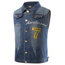 New Mens Denim Vest Jacket Plus Size 3XL Double Pockets Fashion Jeans Waistcoat Male Brand-Clothing Sleeveless Jackets For Men(China (Mainland))