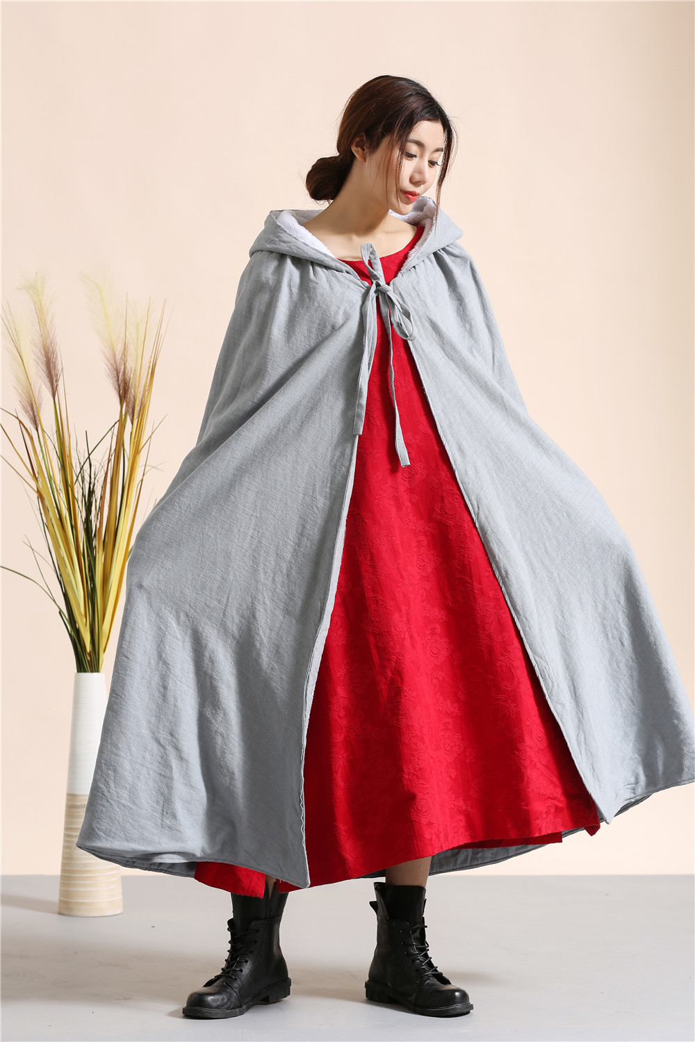 New 2015 Chinese style literary long Hooded Cloak warm flocking dust coat Windbreaker Shawls Winter Poncho And Cape 4 colors
