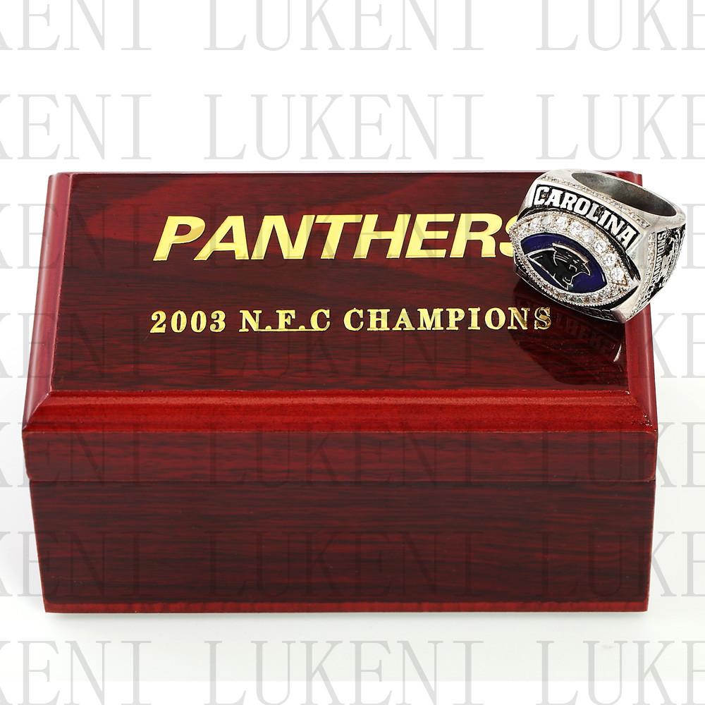 Replica 2003 NFC Carolina Panthers National Football Championship Ring Football Rings With High Quality Wooden Box Gift LUKENI(China (Mainland))