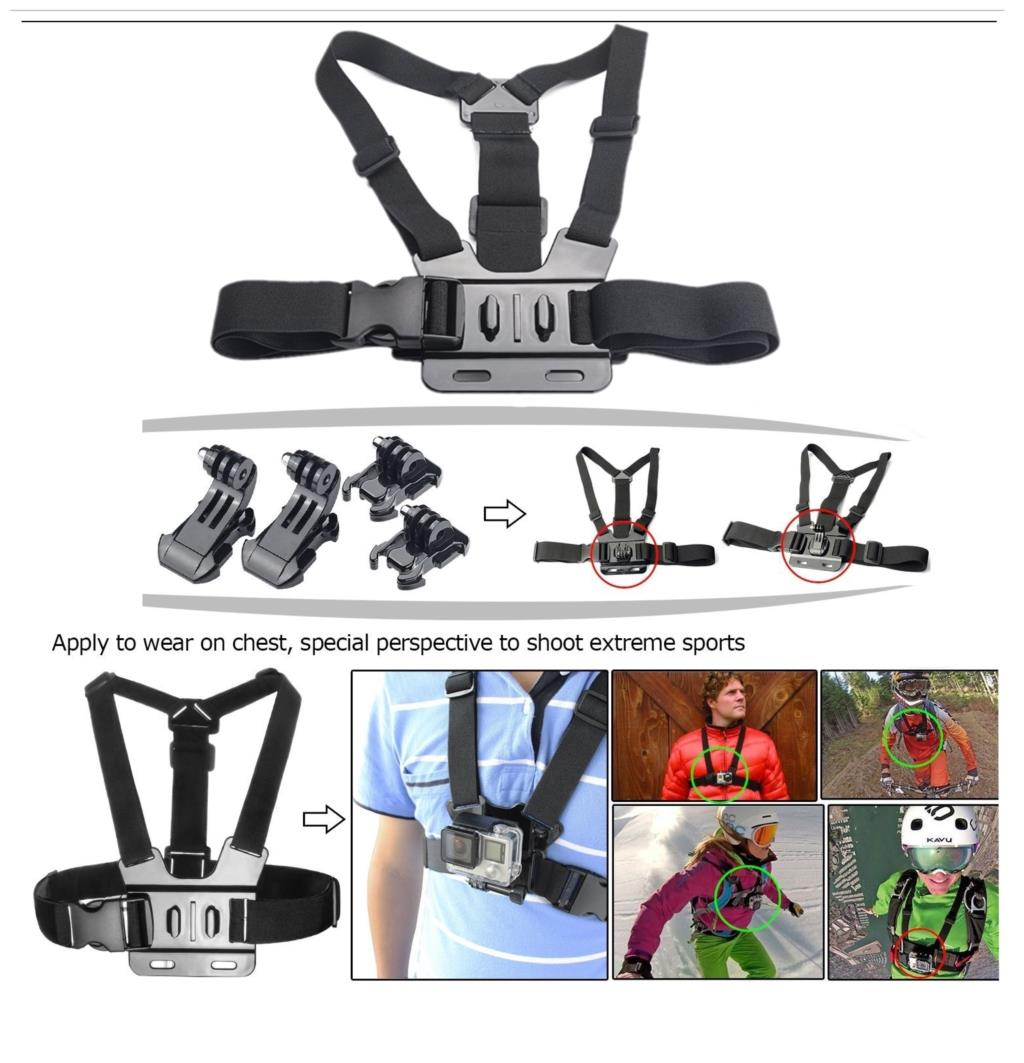 Gopro Accessories Set Helmet Harness Chest Belt Head Mount Strap Monopod Gopro Hero 4 3+ 2 1 xiaomi yi GS13