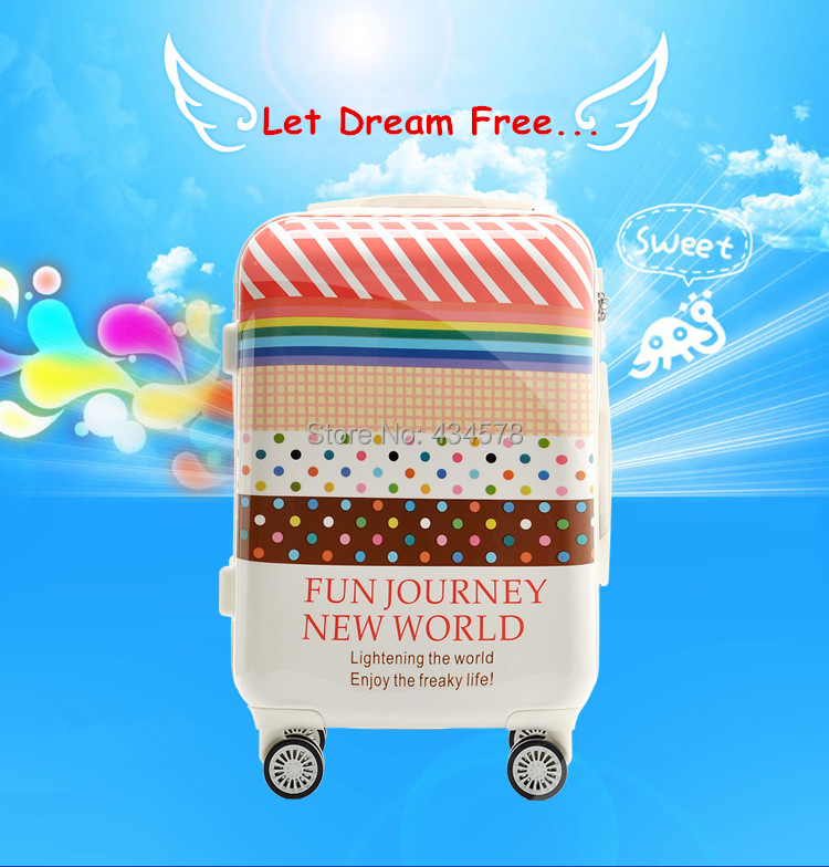 "!abs pc trolley luggage bags,20 inch"" women suitcase wheels,lovely ice white travel bags"""