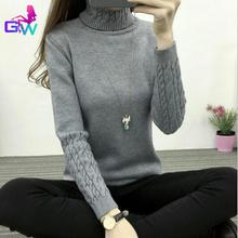 Women Sweater 2015 Winter Autumn Twisted Flowers Knitted Sweaters Warm Thincken Turtleneck Pullover Long Sleeve Women Sweater(China (Mainland))