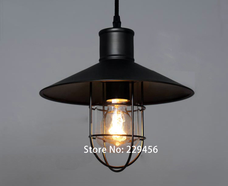 pendant light american vintage industrial loft wrought iron cage decor luminaire e27 110 240v in. Black Bedroom Furniture Sets. Home Design Ideas