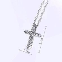 Sprzedaż Drop Shipping Hip Hop stop krzyż wisiorek naszyjnik Iced Out Rhinestone krucyfiks Charm naszyjnik biżuteria(China)