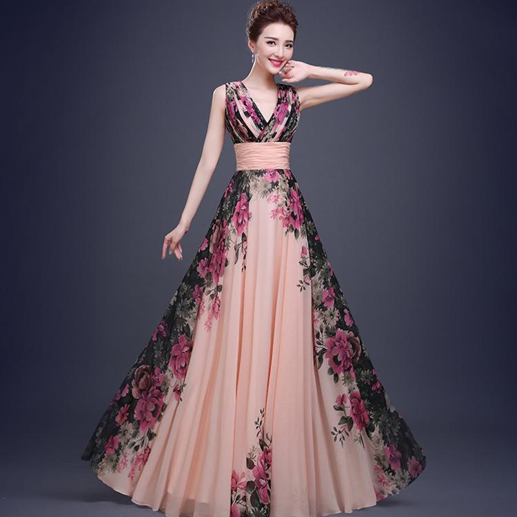 Fashion Evening Dresses Bridal Marrige Banquet Chiffon Printing