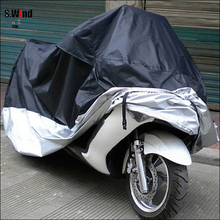 Waterproof Outdoor UV Protector Motobike Rain Dust Cover Bike Motorcycle Cover Black and Silver Size L Free Shipping