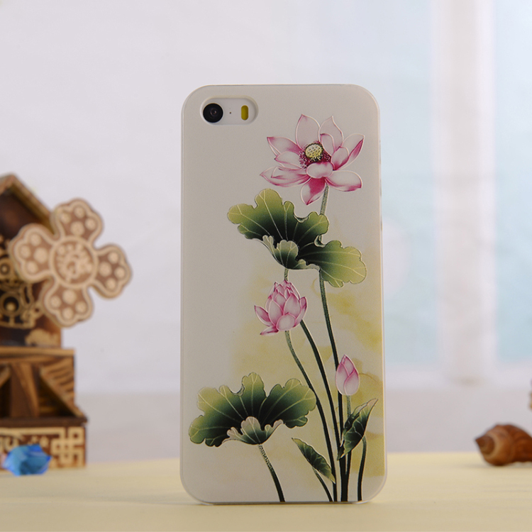 Mobile Phone Cases Mobile Shell 3D stereoscopic relief process applies to iphone5 / 5s Lotus flowers(China (Mainland))