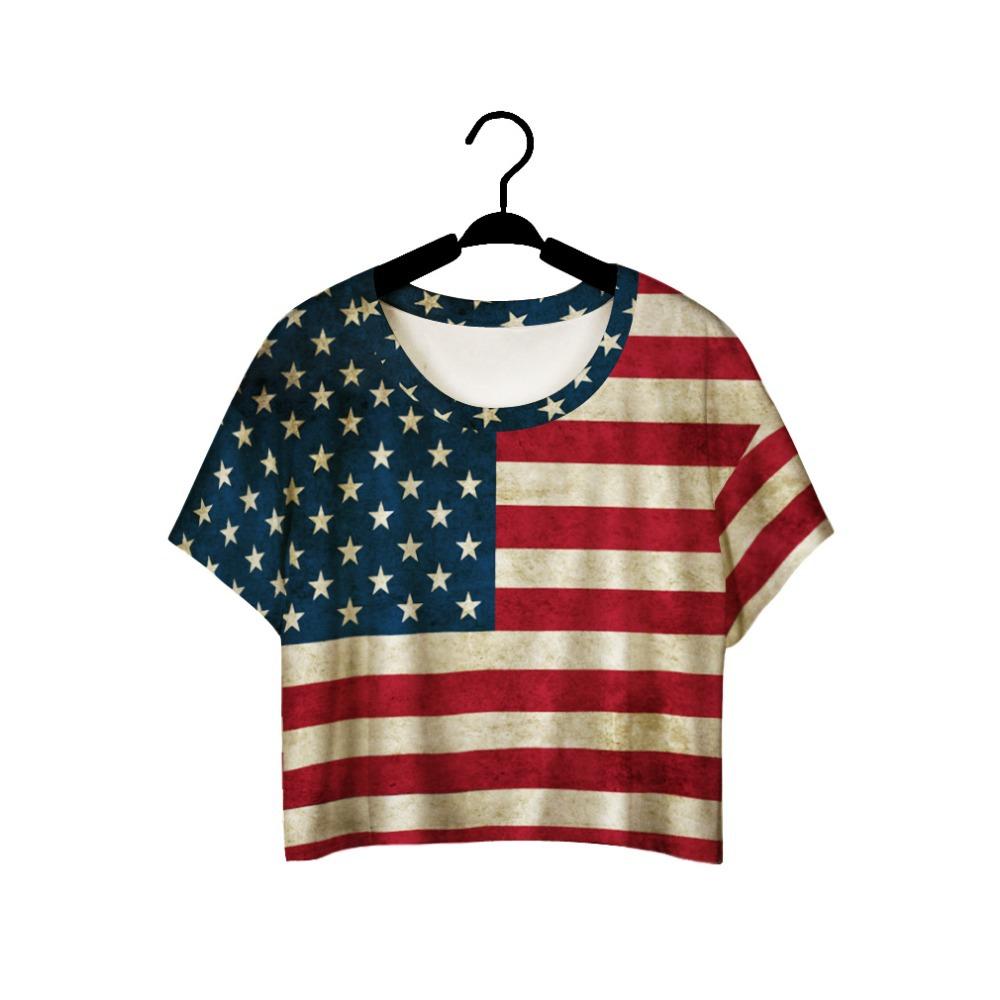 Girls summer t shirt red stripe usa flag 3d printed for T shirt printing usa