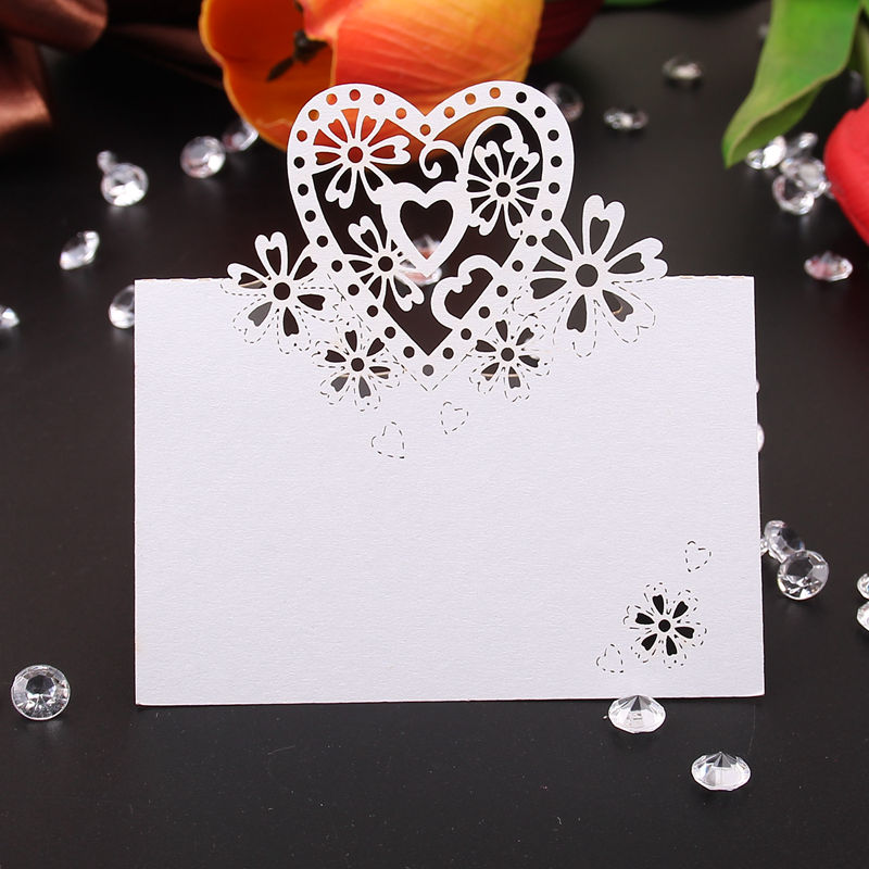 Wedding Card 20 Pcs Heart Butterfly Glass White Place Cards Birthday Party Table Centerpieces Decoration Festive