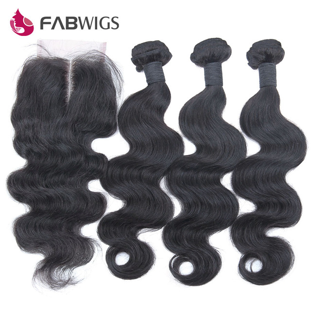 Peruvian Virgin Hair with Closure 3 Bundles Peruvian Body Wave with Closure Grade 6A Human Hair Weave with Lace Closure