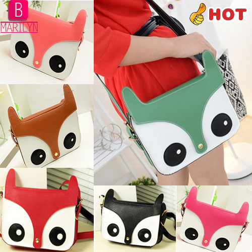Fashion Style Retro Women Leather Animal Owl Shoulder Bags Clutches Cartoon Fox Print Flap Messenger Bag C028(China (Mainland))
