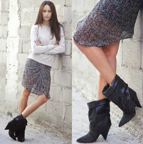 Фотография 2015 Newest Fashion Trend Gray Tassels Ankle Boots Thick Heel Side Fringes Woman Black Short Boots Slip-on Autumn Dress Shoes