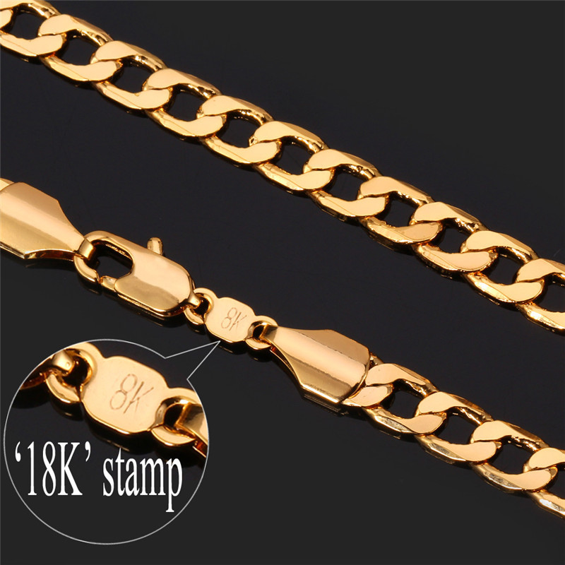 """Cuban Gold Chains Necklace Men """"18K"""" Stamp New 5MM Fashion Party Men Jewelry Gift Wholesale 18K Gold Plated Curb Link Chain N744(China (Mainland))"""