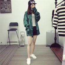 Fashion Satin Loose Blouse For Women Men Vintage Green High Quality Wonmen Blouse Long Sleeve Lady Tops Shirt XC694(China (Mainland))