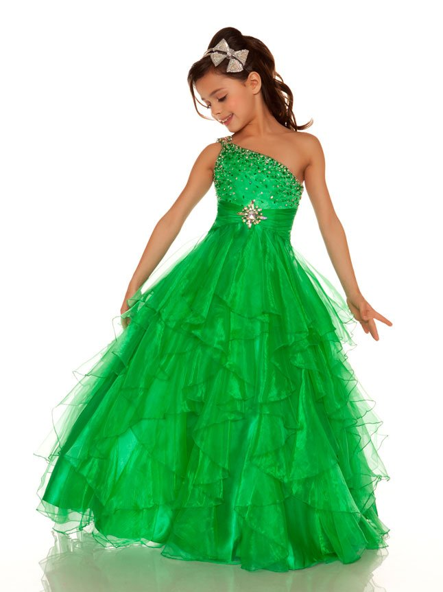 2013 Cute Green Winning One Shoulder Little Girl Pageant ...