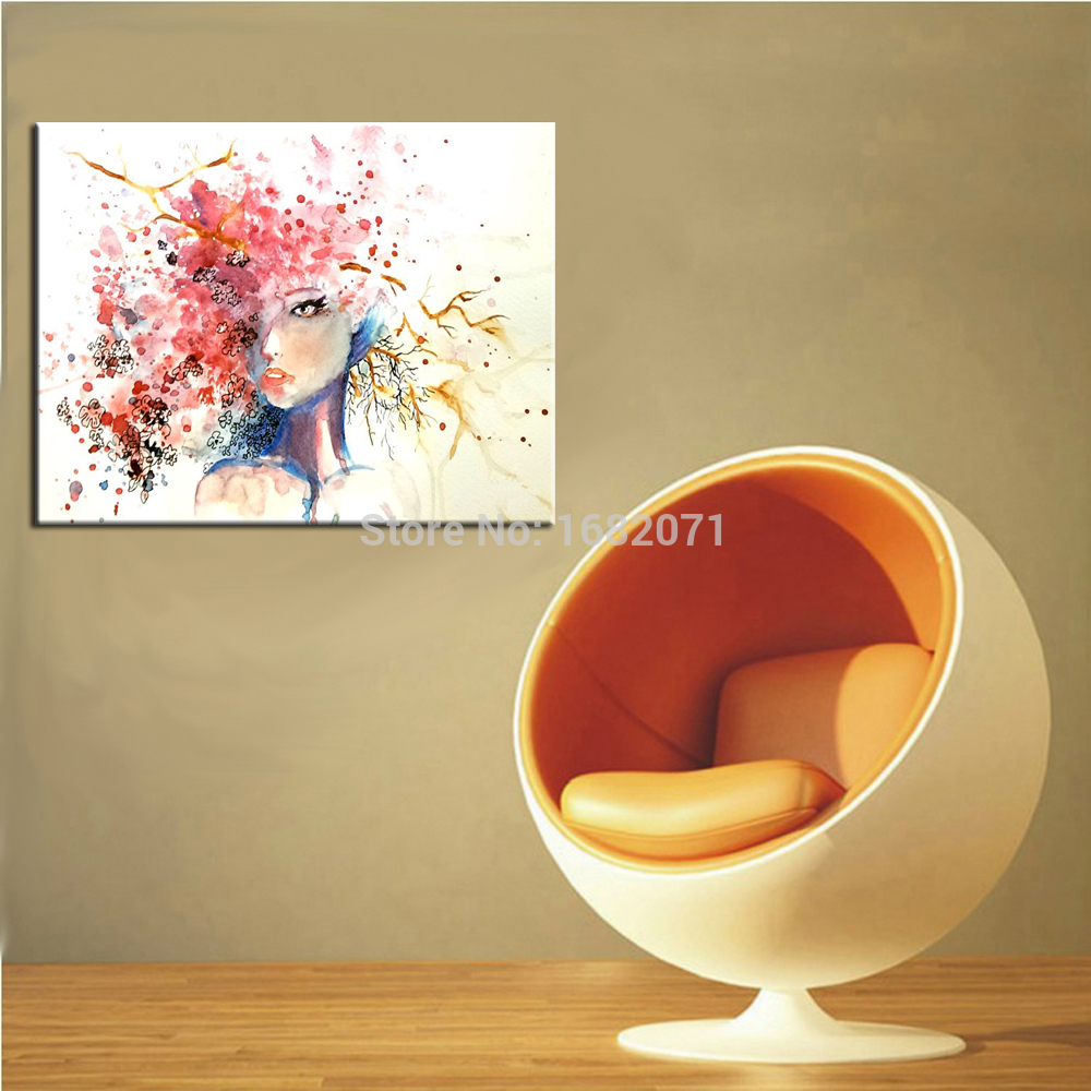 Top Painter Handmade Pop Oil Painting On Canvas Hand-painted Modern Beautiful Girl With Abstract Colorful Hair Oil Paintings(China (Mainland))