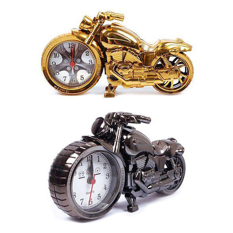 Fashion New Creative Vintage Mini Motorcycle Shape Digital Alarm Clock Home Decoration Desk Clock Silver and Gold NVIE(China (Mainland))