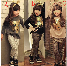 New girls clothing sets,full sleeve T shirt+legging 2pc set,3 color,baby clothing,kids clothes,leopard head style ,Free Shipping(China (Mainland))