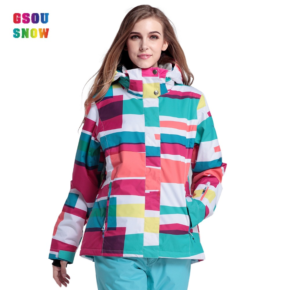 2016 Gsousnow new colourful or big ski jackets brands women ladies girls female snow jackets windproof breathable free shipping(China (Mainland))