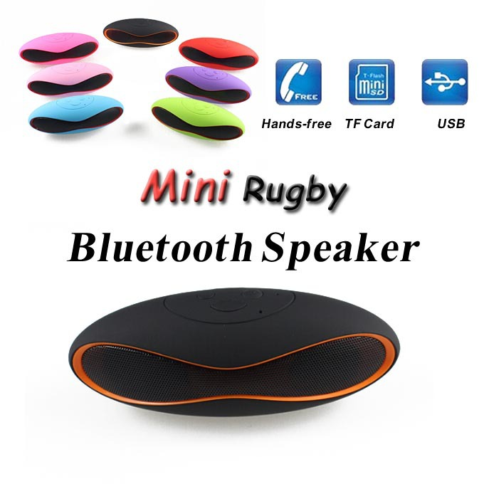 Mini Portable Mini-X6U X6 Rugby Football Stereo Speaker QFX Subwoofer Soccer Wireless Bluetooth With MIC U Disk USB AUX TF Card(China (Mainland))