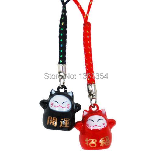HOT! 100 PCS Japanese Rich Lucky Maneki Neko Cat Key Car Cell Phone Chain Netsuke Charm Bell(China (Mainland))