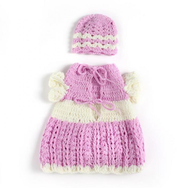 2016 Hand Knitted Baby Girl Dress Set Infant Bonnet Adjustable Dress Crochet Shorts Newborn Photography Props Kids Hats Ok0403(China (Mainland))