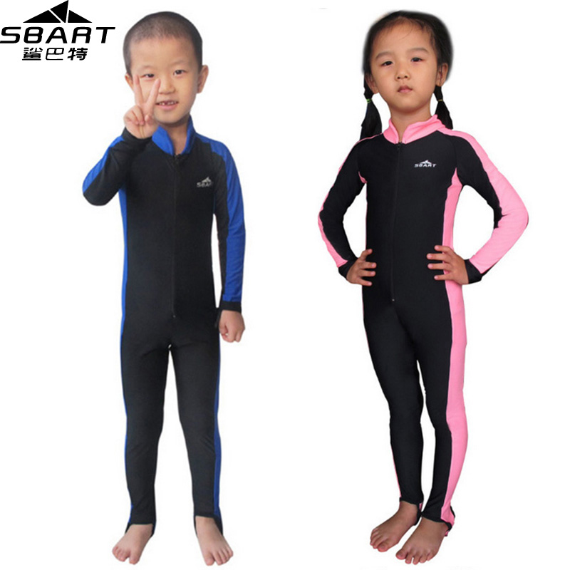 SBART Wetsuit Kids Upf50 Anti UV Sun Protection Lycra Skin Wet Suit Boy Girl Snorkeling Surf Diving Wetsuit One Piece Swimming L(China (Mainland))
