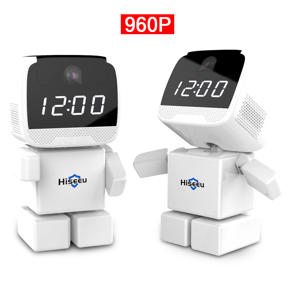 Wireless Robot 960P IP Camera WIFI Clock Network CCTV HD Baby Monitor Remote Control Home Security Night Vision Two Way Audio