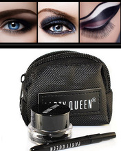 1 set (PartyQueen) BRAND eyeliner Black Gel Eyeliner Makeup gel eye liner Cosmetic + Brush +bag wholesale free shipping M01318