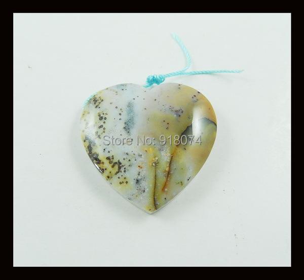 Carved Natural Stone Ocean Jasper Heart Pendant,35x8mm,16.61g(China (Mainland))