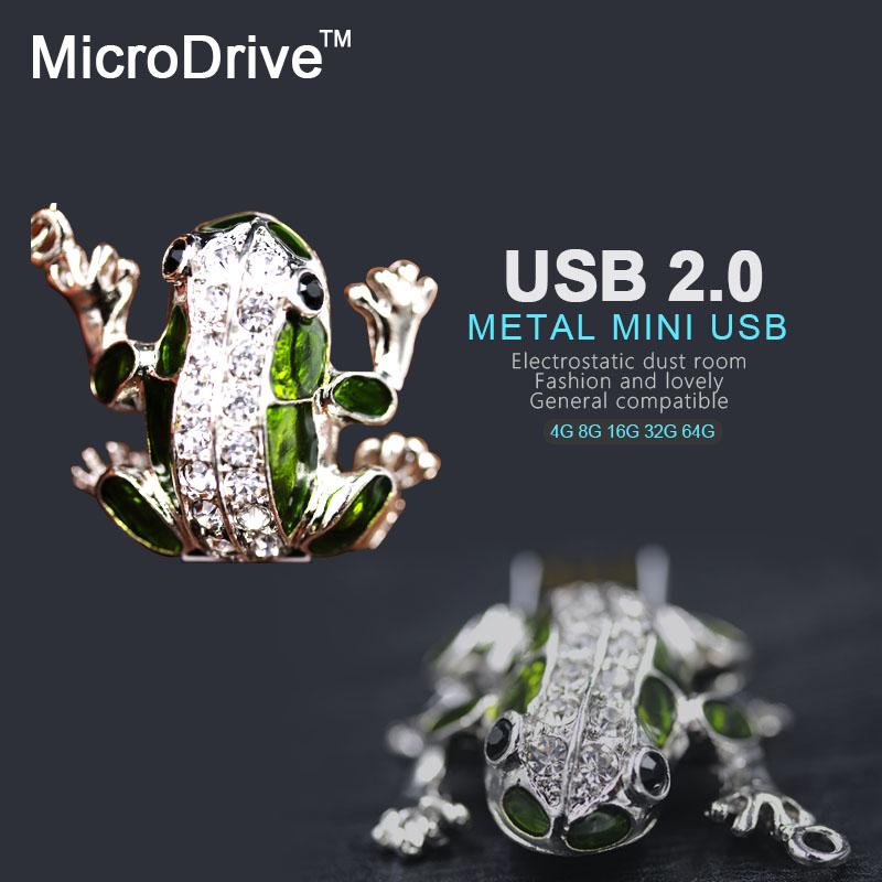 Free Shipping Cute Frog USB Flash Drive 32GB Diamond Pen Drive 16GB 8GB 64GB 32GB Pendrive Memory Sticj USB 2.0 U Disk(China (Mainland))