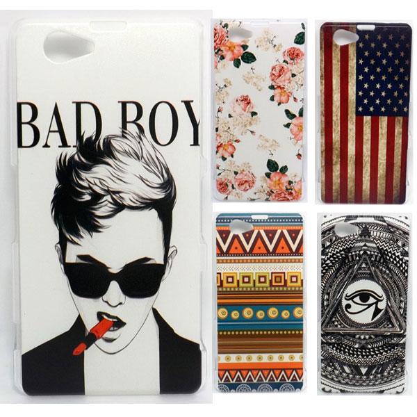 2014 New Painted Hard Plastic Phone Case For Sony Xperia Z1 mini case Sony Xperia Z1 Compact cover M51W+ 1 screen protector(China (Mainland))
