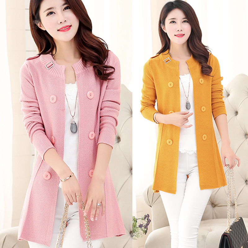 2015 women's autumn and winter sweater cardigan medium-long fashion all-match o-neck cardigan coat double breasted sweater(China (Mainland))