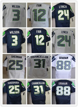 Best quality jersey Men's 25 Richard Sherman 24 Marshawn Lynch 12 12th Fan 88 Jimmy Graham 31 Kam Chancellor Elite jersey M-XXXL(China (Mainland))