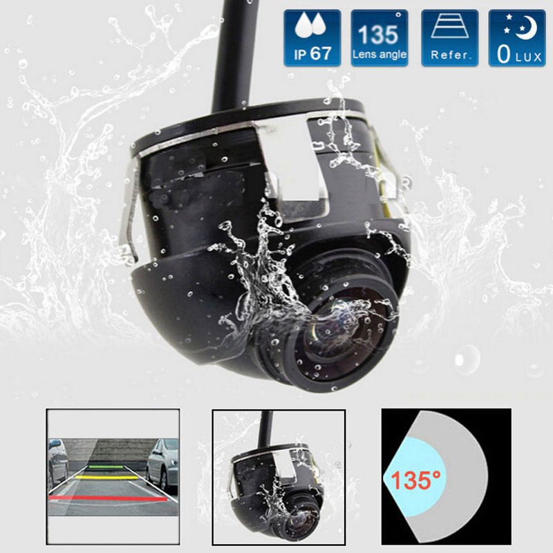 free shipping 1 set Sony CCD HD night vision car side view rear view camera 360 degree Rotation Universal fit(China (Mainland))