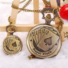 2017 latest women girls watches Good Quality Poker Pattern Style Quartz Necklace Pendant Chain Clock Pocket Watch relogio(China (Mainland))