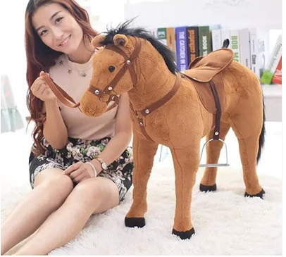 simulation animal riding horse plush toy 82x62cm brown horse whinny horse doll children's birthday gift,Christmas gift w8466(China (Mainland))