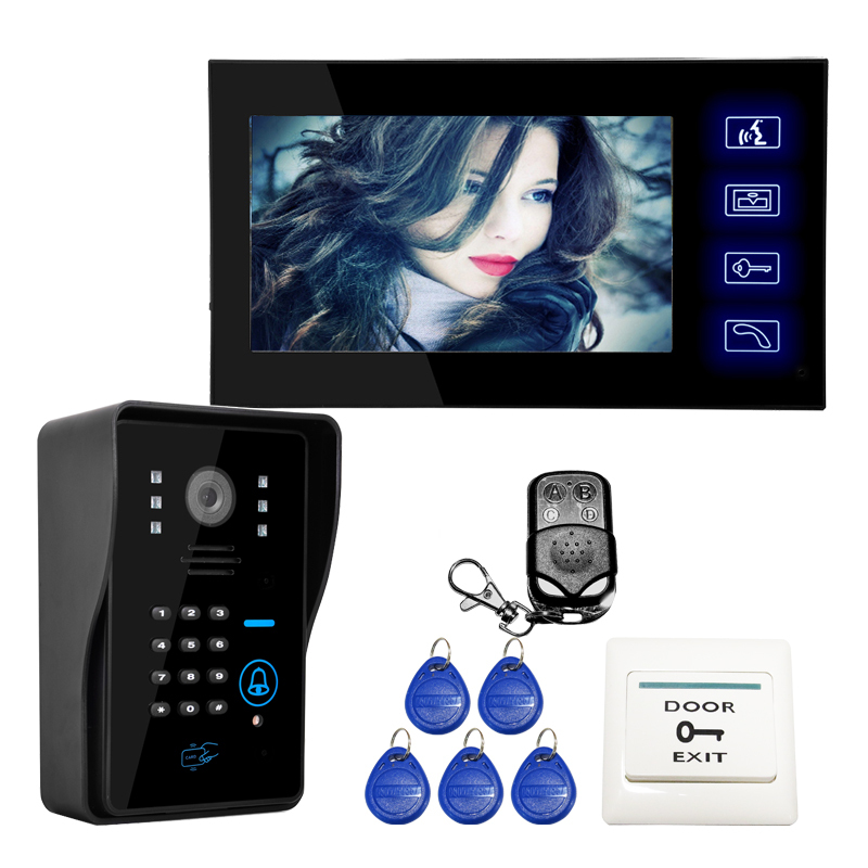 DHL free 7 Inch Color Video Door Phone Intercom System video citofono RFID Keypad Code Number Doorbell Camera remote control(China (Mainland))