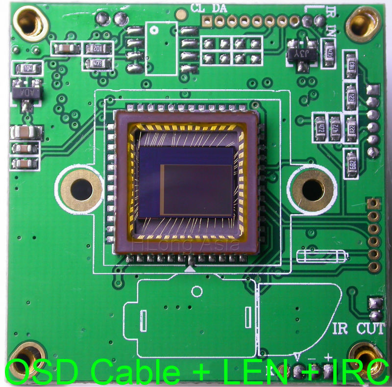"Super night vision 600TVL 1/2"" MCCD BG0605 image sensor NVP2040 DSP CCTV camera module chip board + OSD cable + IRC + 6mm LEN(China (Mainland))"