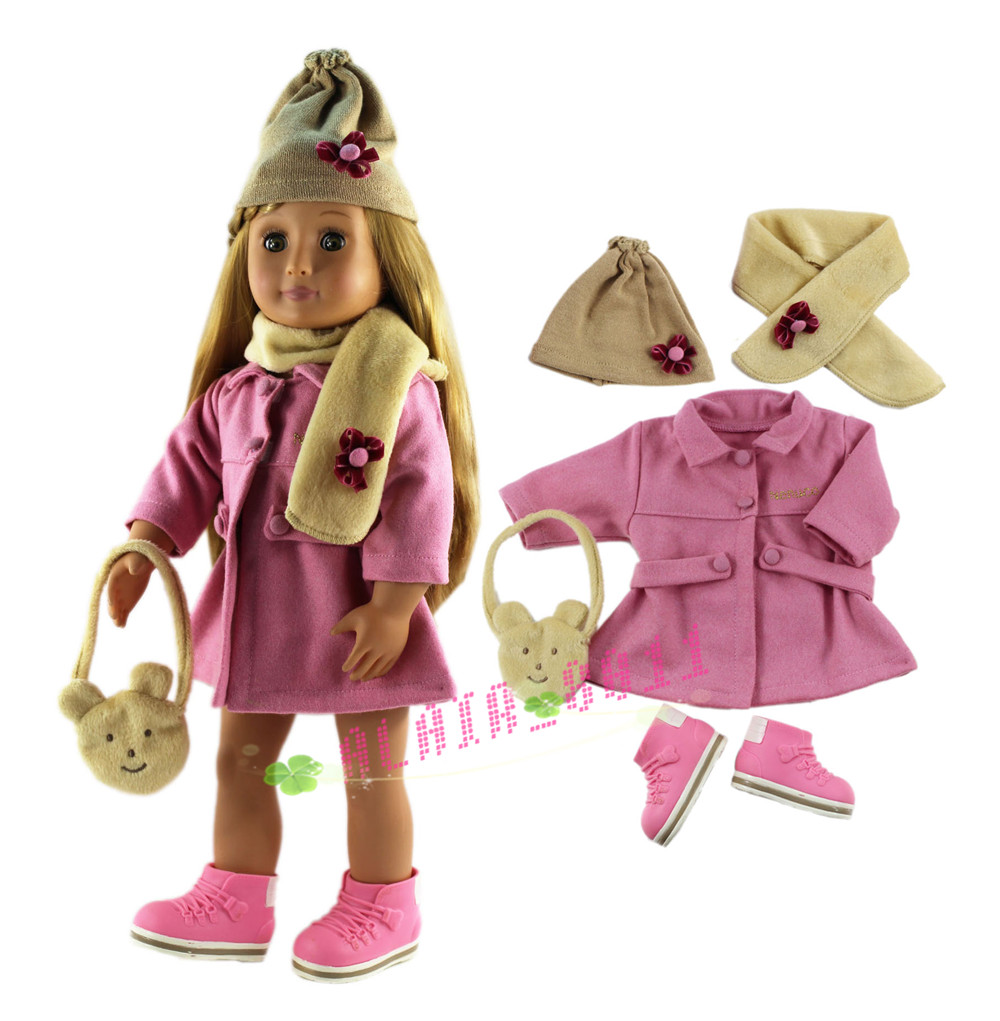 Hot 5 PCS Set Doll Clothes for 18'' American Girl Fashion Handmade Clothes Coat+hat+scarf+bag+one pairs shoes(China (Mainland))