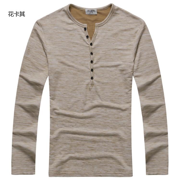 Wholesale New Men Henley Shirt 2016 New Tee Tops Long