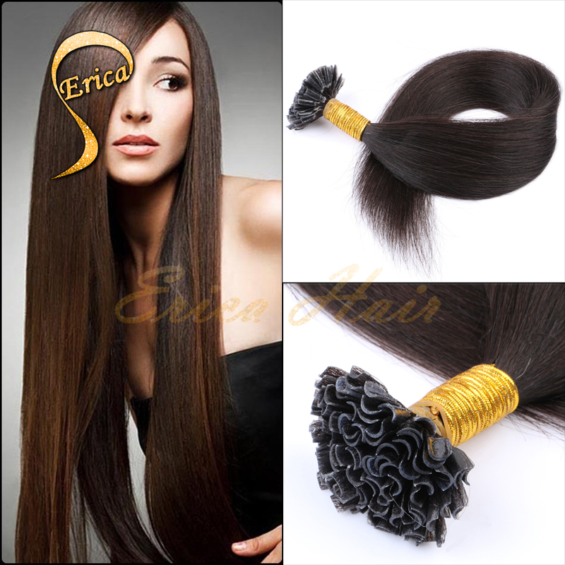 6A Unprocessed Virgin UTip Hair Extensions Brazilian Silk Straight King Hair 50g/pc Stick Hair Product 27colors Pre-Bonded U Tip(China (Mainland))