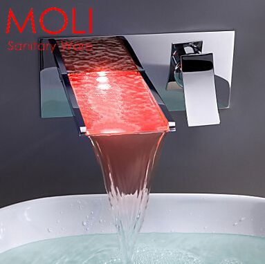 Bathroom Mixer Tap Color Changing LED Waterfall Wall Mount Bathroom Sink Faucet Torneira cozinha(China (Mainland))