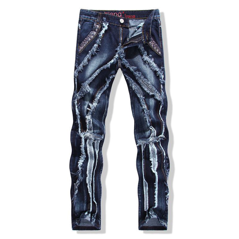 HOT men 2015 new fashion brand scratched frayed patchwork sequined Hip hop jeans skinny denim plus size vaqueros casual hombre(China (Mainland))