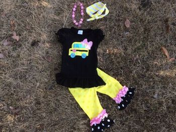 baby clothes baby girls car applique capri set pant set outfits back to school clothing with matching necklace and bow set