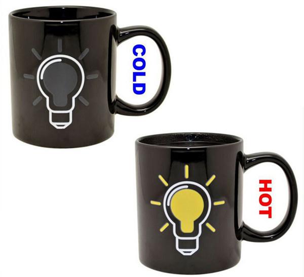 Mug 301ml Light bulb Discoloration Cup Ceramic coffee mug 8*8*10cm comfortable handle coffee milk cup free shipping Q-140(China (Mainland))