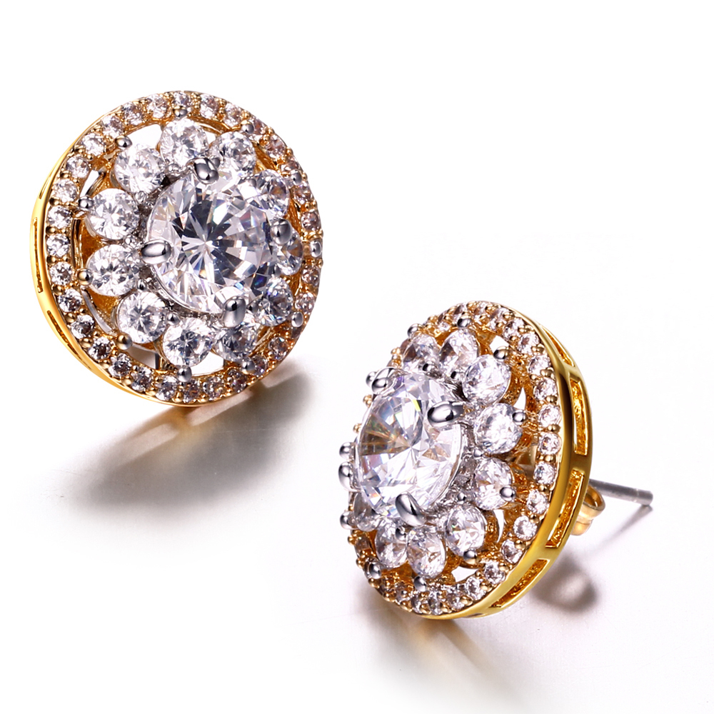 High quality jewelry Cubic zirconia round earrings Gold and white plate micro pave setting with cubic zirconia New stud(China (Mainland))