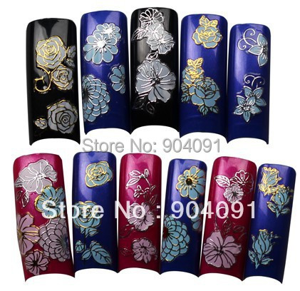 Здесь можно купить  HOT Wholesale Gold-lined white  Nail Sticker Flower Nail Art  sticker Design nail accessories for nail art  Красота и здоровье