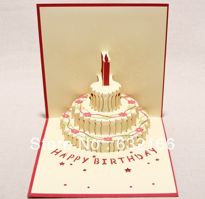 Free shipping wholesale 3D colorful happy birthday cake greeting card,2pcs/bag,best wish to your friend valentine gift(China (Mainland))